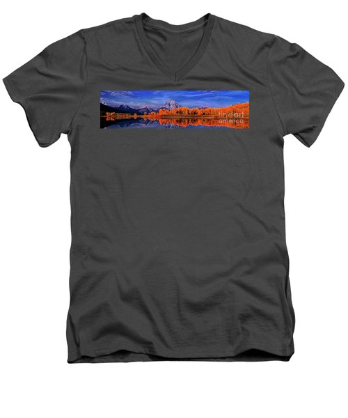 Mount Moran And Fall Color Grand Tetons Men's V-Neck T-Shirt by Dave Welling