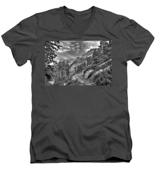 Mount Pilchuck Black And White Men's V-Neck T-Shirt by Charlie Duncan