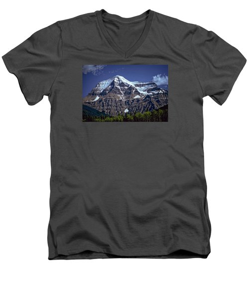 Men's V-Neck T-Shirt featuring the photograph Mount Robson by Richard Farrington