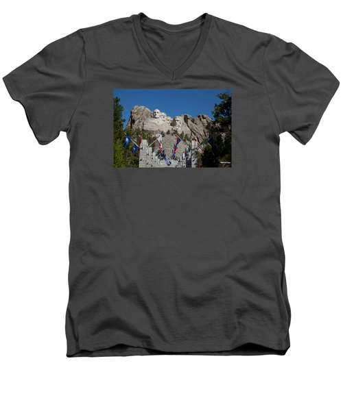 Mount Rushmore Avenue Of Flags Men's V-Neck T-Shirt