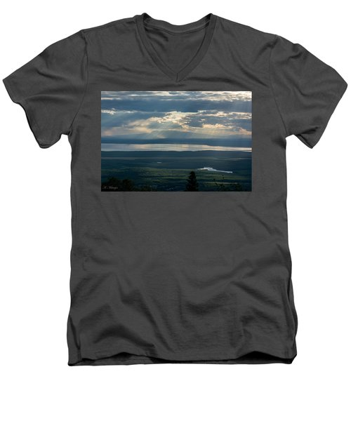 Mount Susitna Men's V-Neck T-Shirt by Andrew Matwijec