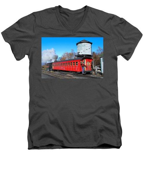 Mount Washington Cog Railway Car 6 Men's V-Neck T-Shirt