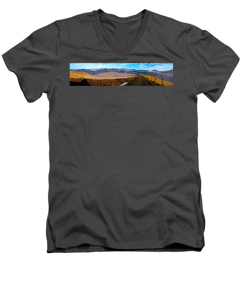 Mountain Farm Panorama Version 2 Men's V-Neck T-Shirt by Tom Culver