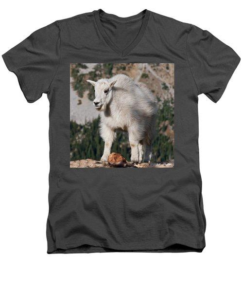 Mountain Goat Kid Standing On A Boulder Men's V-Neck T-Shirt