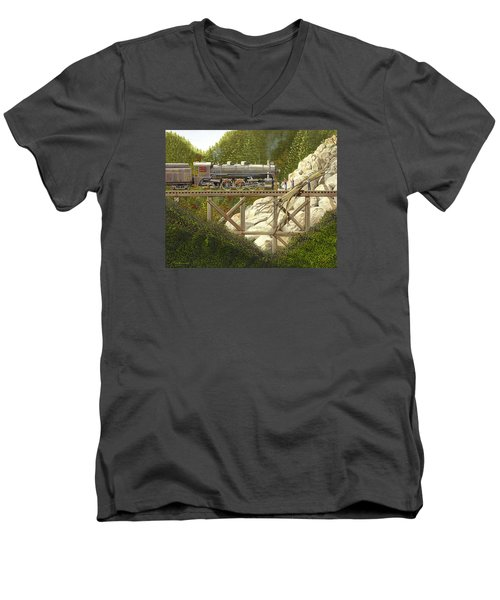 Men's V-Neck T-Shirt featuring the painting Mountain Impasse by Gary Giacomelli