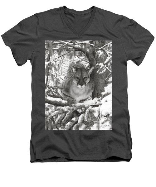 Mountain Lion Hideout Men's V-Neck T-Shirt