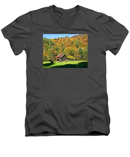 Men's V-Neck T-Shirt featuring the photograph Mountain Log Home In Autumn by Susan Leggett