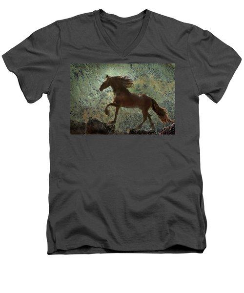 Mountain Majesty Men's V-Neck T-Shirt by Melinda Hughes-Berland