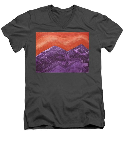 Mountain Majesty Original Painting Men's V-Neck T-Shirt by Sol Luckman