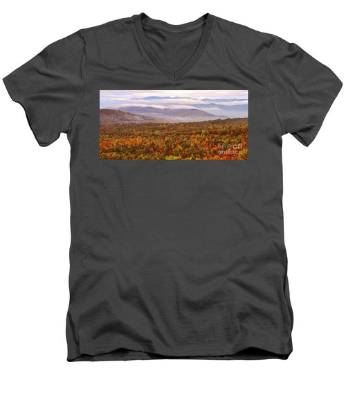 Mountain Mornin' In Autumn Men's V-Neck T-Shirt by Lydia Holly