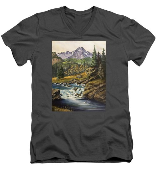 Mountain Of The Holy Cross Men's V-Neck T-Shirt by Jack Malloch
