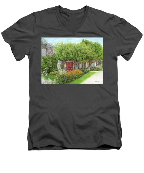 Men's V-Neck T-Shirt featuring the painting Mountain Playhouse Jennerstown Pa by Albert Puskaric