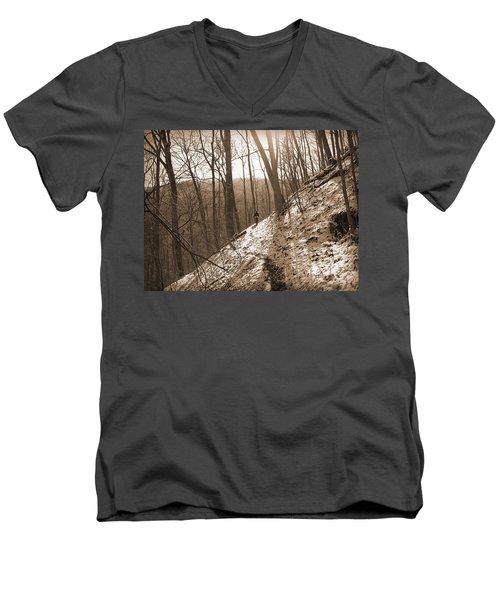 Mountain Side Men's V-Neck T-Shirt by Melinda Fawver