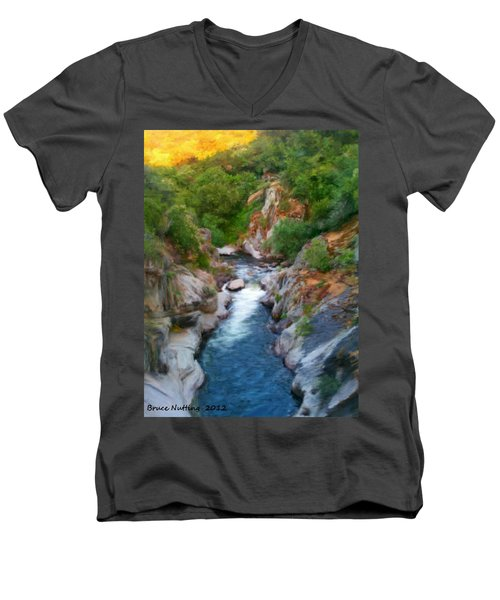 Men's V-Neck T-Shirt featuring the painting Mountain Stream by Bruce Nutting