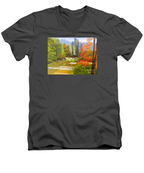 Men's V-Neck T-Shirt featuring the painting Mountain Stream by Pamela  Meredith