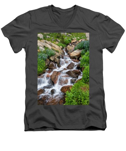 Men's V-Neck T-Shirt featuring the photograph Mountain Stream by Ronda Kimbrow