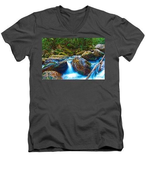 Men's V-Neck T-Shirt featuring the photograph Mountain Streams by Alex Grichenko