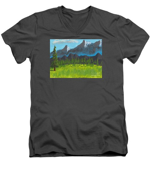 Men's V-Neck T-Shirt featuring the painting Mountain Vista by David Jackson