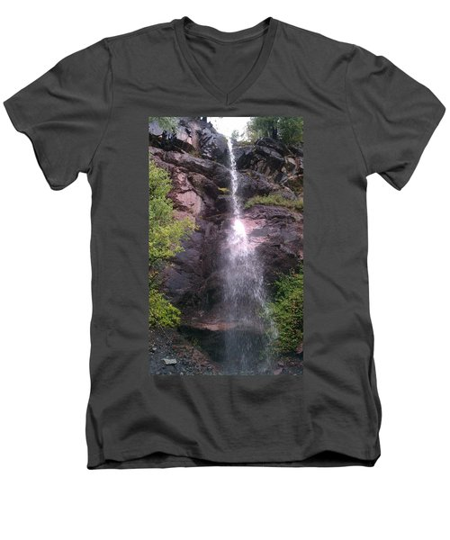 Men's V-Neck T-Shirt featuring the photograph Mountain Waterfall by Fortunate Findings Shirley Dickerson