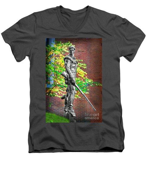 Mountaineer Statue Men's V-Neck T-Shirt by Dan Friend