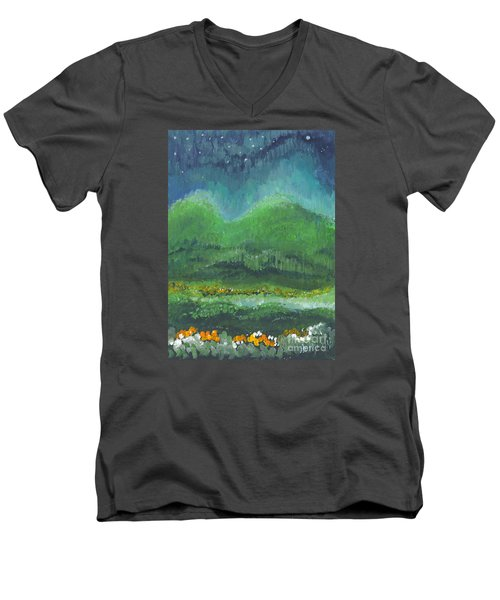 Men's V-Neck T-Shirt featuring the painting Mountains At Night by Holly Carmichael