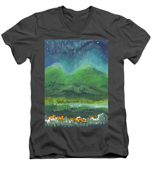 Mountains At Night Men's V-Neck T-Shirt
