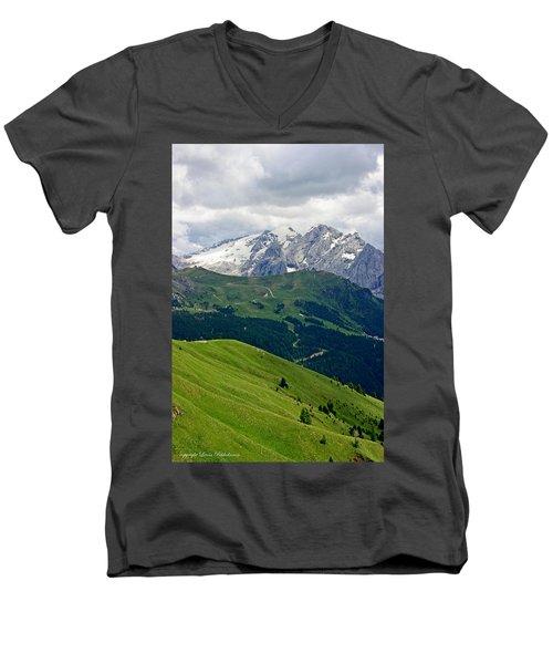 Mountains Men's V-Neck T-Shirt by Leena Pekkalainen