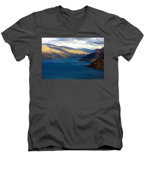 Men's V-Neck T-Shirt featuring the photograph Mountains Meet Lake #2 by Stuart Litoff