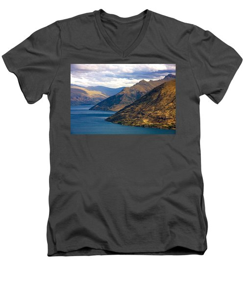 Men's V-Neck T-Shirt featuring the photograph Mountains Meet Lake by Stuart Litoff