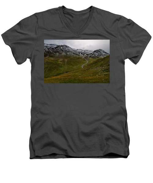 Mountainscape With Snow Men's V-Neck T-Shirt