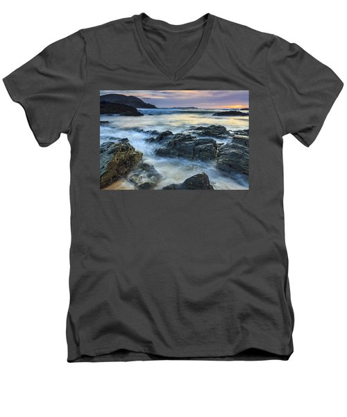Men's V-Neck T-Shirt featuring the photograph Mourillar Beach Galicia Spain by Pablo Avanzini