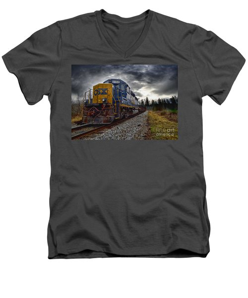 Men's V-Neck T-Shirt featuring the photograph Moving Along In A Train Engine by Melissa Messick