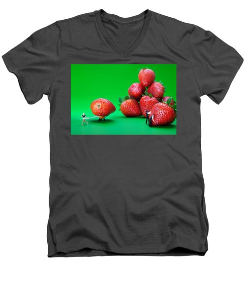 Men's V-Neck T-Shirt featuring the photograph Moving Strawberries To Depict Friction Food Physics by Paul Ge