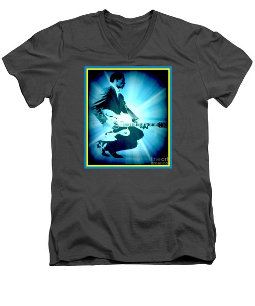 Mr Chuck Berry Blueberry Hill Style Edited 2 Men's V-Neck T-Shirt by Kelly Awad