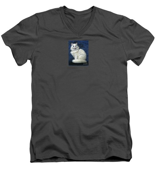 Men's V-Neck T-Shirt featuring the painting Mrs. Moon by Jane Bucci
