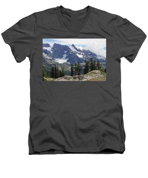 Mt Baker Washington View Men's V-Neck T-Shirt by Tom Janca