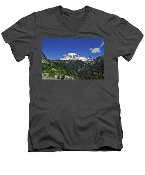 Mt Rainier Between The Valley Men's V-Neck T-Shirt