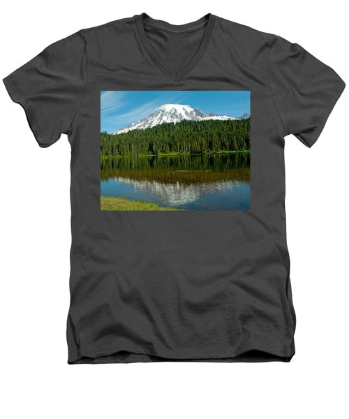 Mt. Rainier II Men's V-Neck T-Shirt by Tikvah's Hope