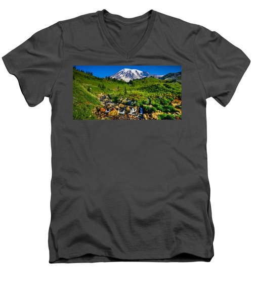 Mt. Rainier Stream Men's V-Neck T-Shirt by Chris McKenna