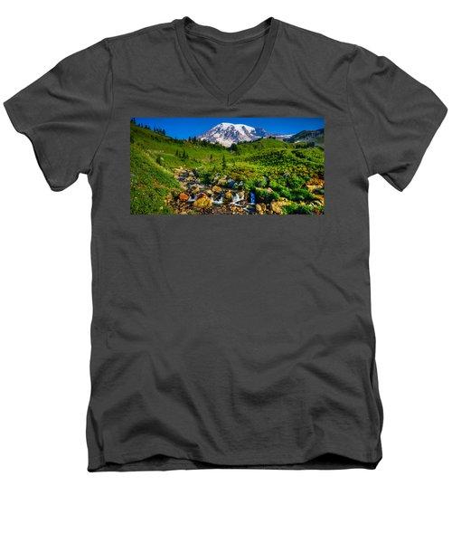 Mt. Rainier Stream Men's V-Neck T-Shirt