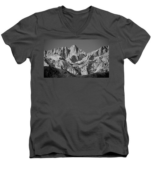 Mt. Whitney In Black And White Men's V-Neck T-Shirt