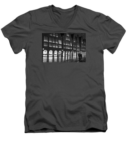 Cobblestone Night Walk In The Town Men's V-Neck T-Shirt by Miguel Winterpacht