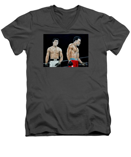 Men's V-Neck T-Shirt featuring the drawing Muhammad Ali Vs George Foreman by Jim Fitzpatrick