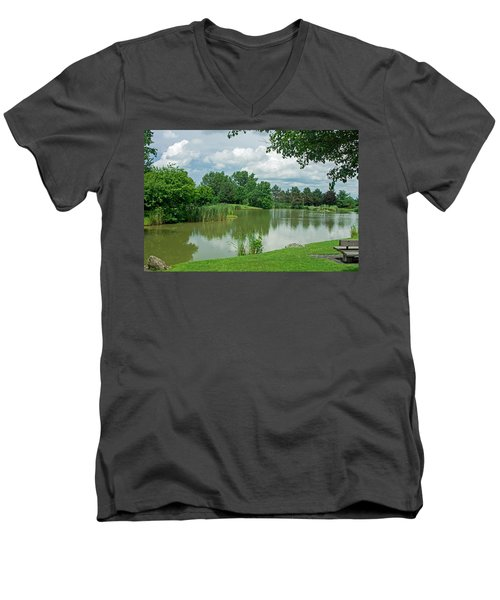 Muller Chapel Pond Ithaca College Men's V-Neck T-Shirt