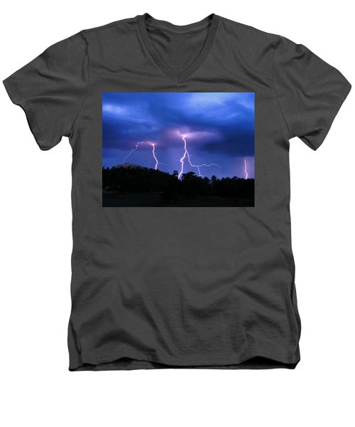 Multi Arc Lightning Strike Men's V-Neck T-Shirt