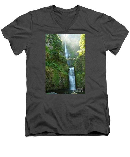 Multnomah Falls Men's V-Neck T-Shirt by Christiane Schulze Art And Photography