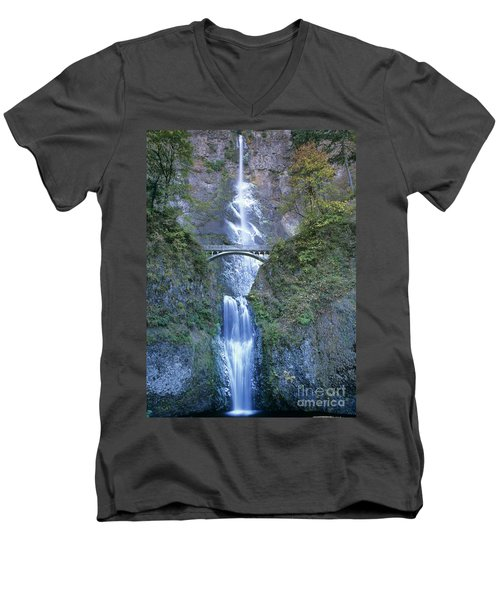 Multnomah Falls Columbia River Gorge Men's V-Neck T-Shirt by Dave Welling