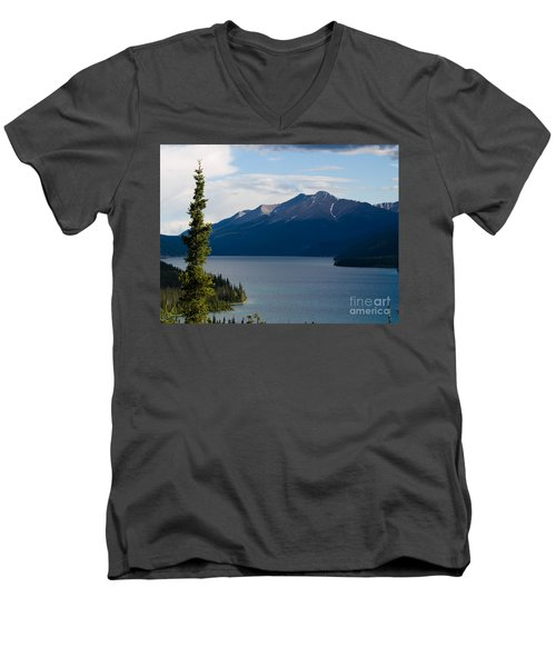 Muncho Lake Men's V-Neck T-Shirt by Tara Lynn