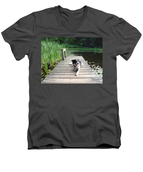 Men's V-Neck T-Shirt featuring the photograph Mundee On The Dock by Michael Porchik