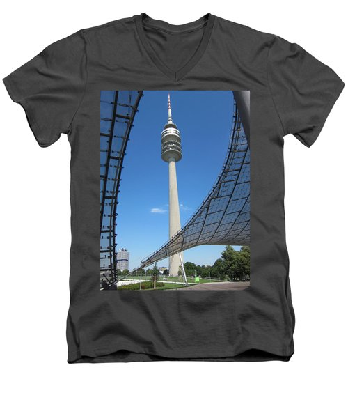 Men's V-Neck T-Shirt featuring the photograph Munich Olympic Tower by Pema Hou